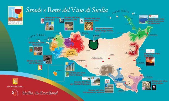 Mappa strade del vino di Sicilia