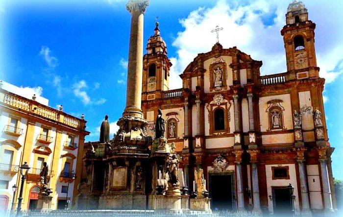 La chiesa di San Domenico a Palermo dove è stato traslato il giudice Falcone.