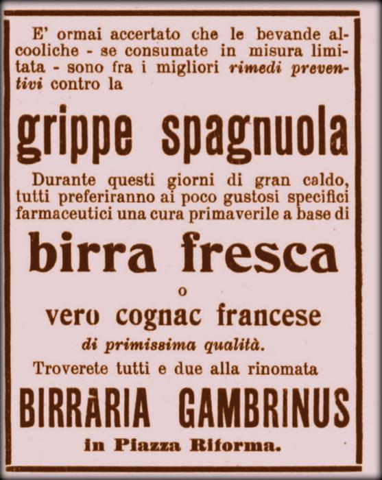 anche durante la spagnola si pubblicizzavano falsi rimedi