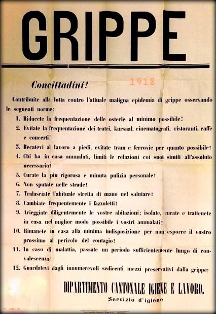 l'ordinanza del 1918 contro la pandemia Spagnola