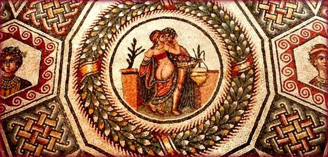 Amore e Psiche: uno dei mosaici meglio conservati della Villa Romana del Casale - foto da wikipedia