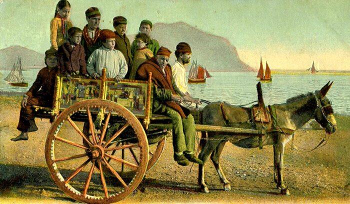 il carretto siciliano è un simbolo della sicilia: una foto storica