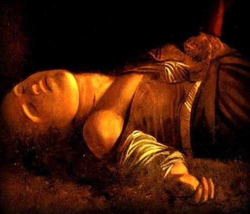 santa lucia del caravaggio a siracusa: particolare del viso della santa