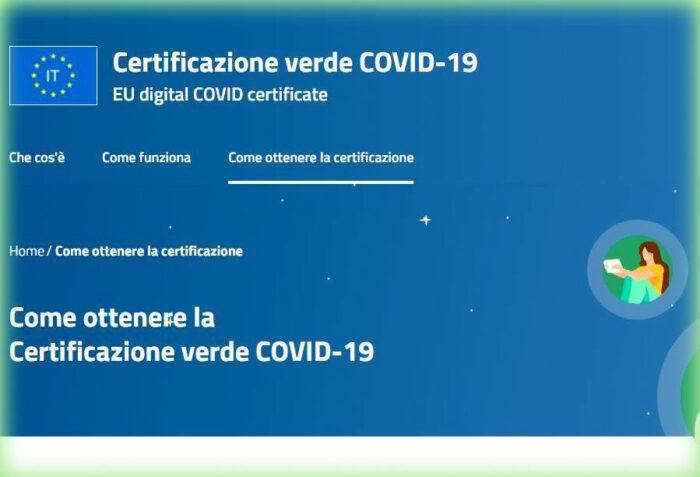 Green Pass EU è il Certificato Verde: sito dgc.gov.it